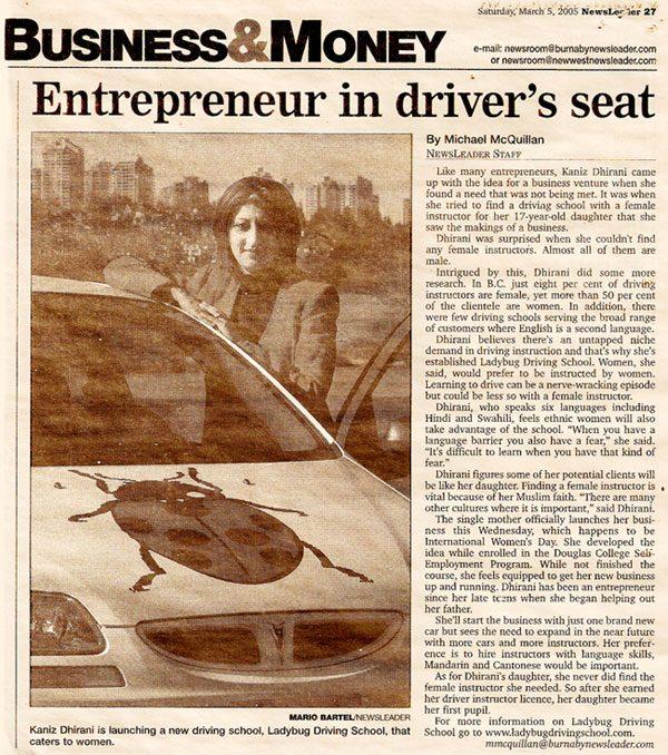 Entrepreneur in driver's seat